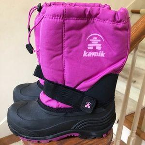 Girls pink Kamik waterproof ski boots sz 9